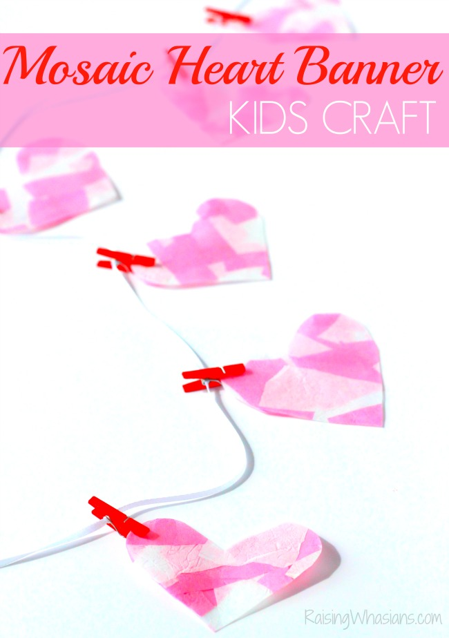 Mosaic heart Valentines day banner kids craft Mosaic Heart Valentine's Day Banner Kids Craft | make this adorable and easy Valentine's day craft for kids. Perfect heart banner to hang in the window. #kidscraft #valentines #DIY #Crafts