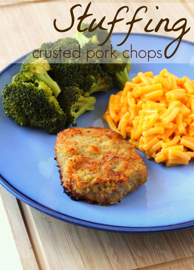 Easy stuffing crusted pork choops with our favorite weeknight meal