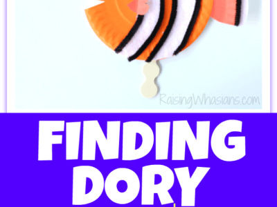 Finding Dory paper plate craft puppets