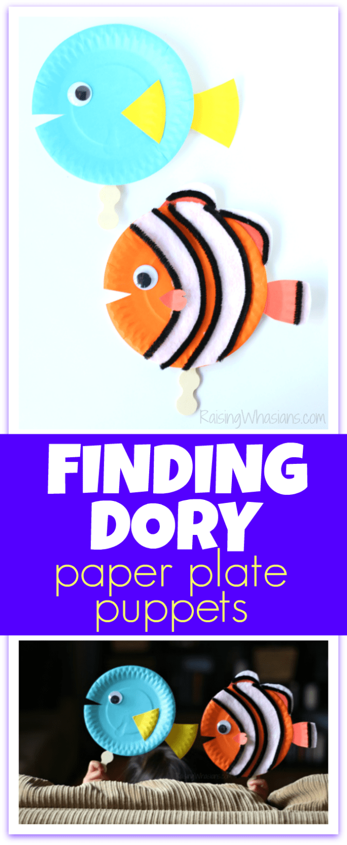 Finding Dory craft paper plate puppets