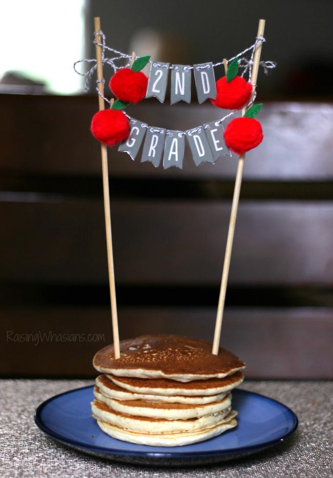 DIY back to school banner pancake topper