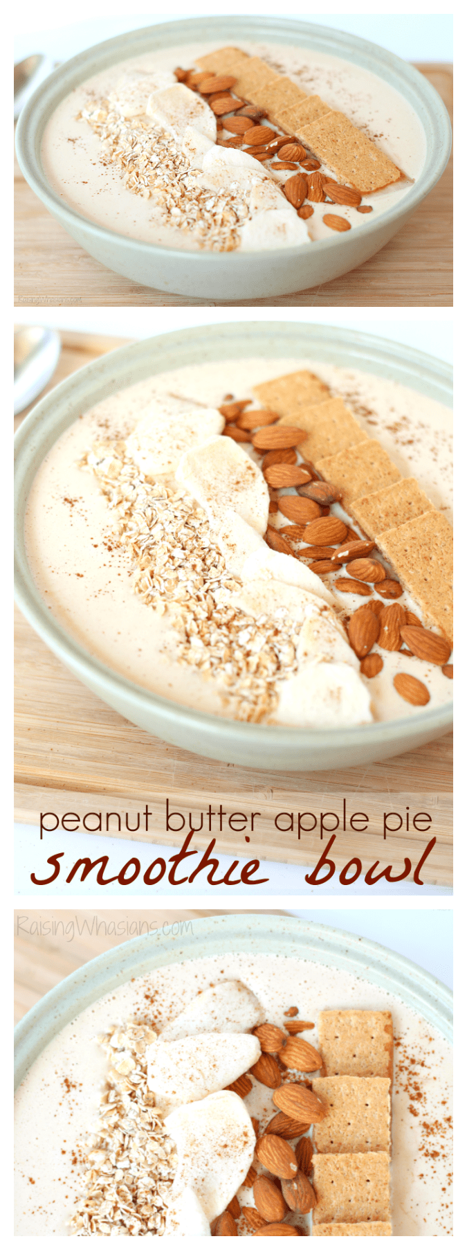 Peanut Butter Apple Pie Smoothie Bowl | Enjoy apple pie for breakfast with this delicious and easy fall inspired smoothie bowl recipe