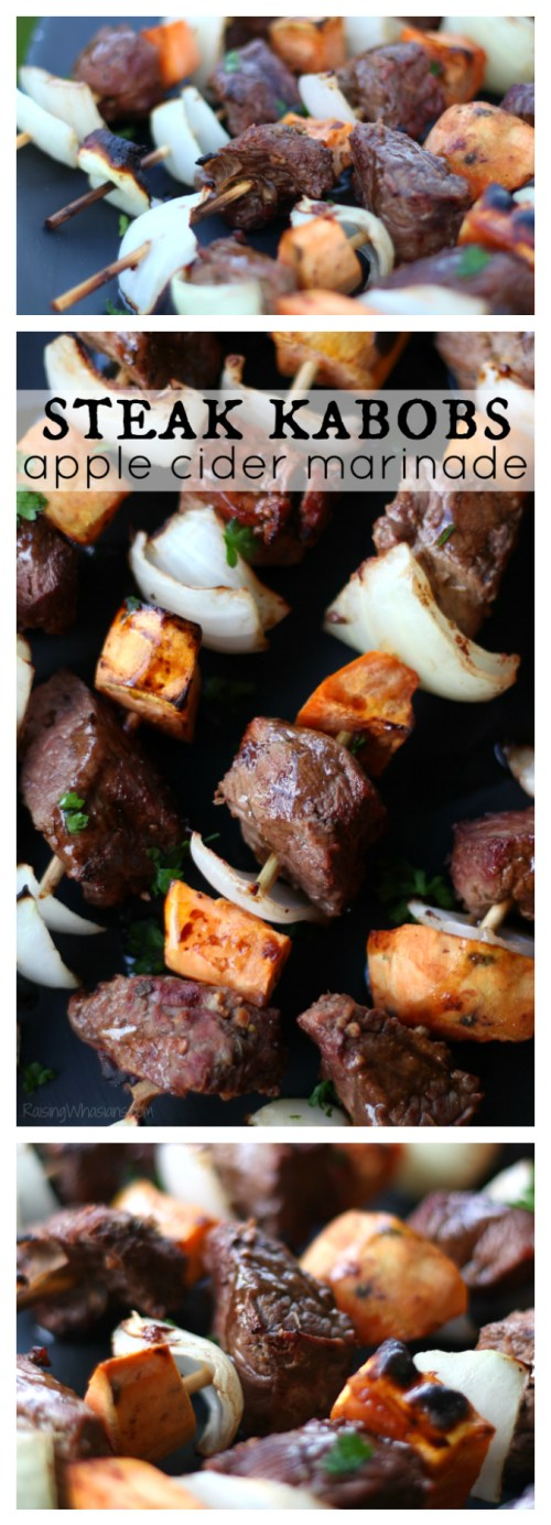Fall steak kabobs pinterest Fall Steak Kabobs with Apple Cider Marinade | Delicious fall grilling recipe featuring steak, sweet potatoes & easy apple cider marinade #ProteinChallenge #Recipe #grilling