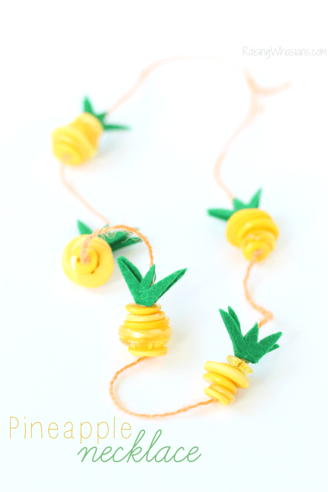 Pineapple button craft necklace