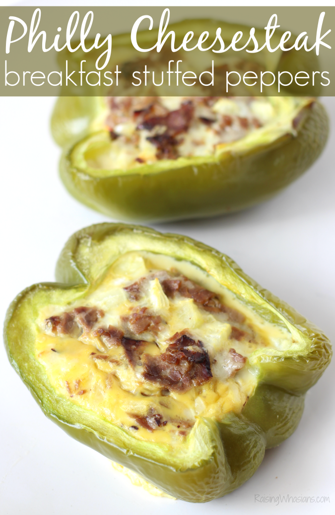Breakfast philly cheesesteak stuffed peppers