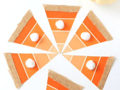 Ombre paint chip pumpkin pie craft