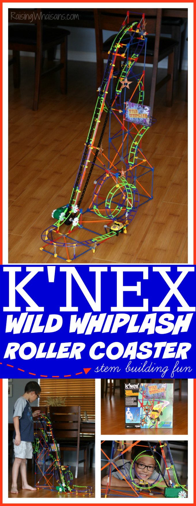 STEM building fun with knex wild whiplash roller coaster