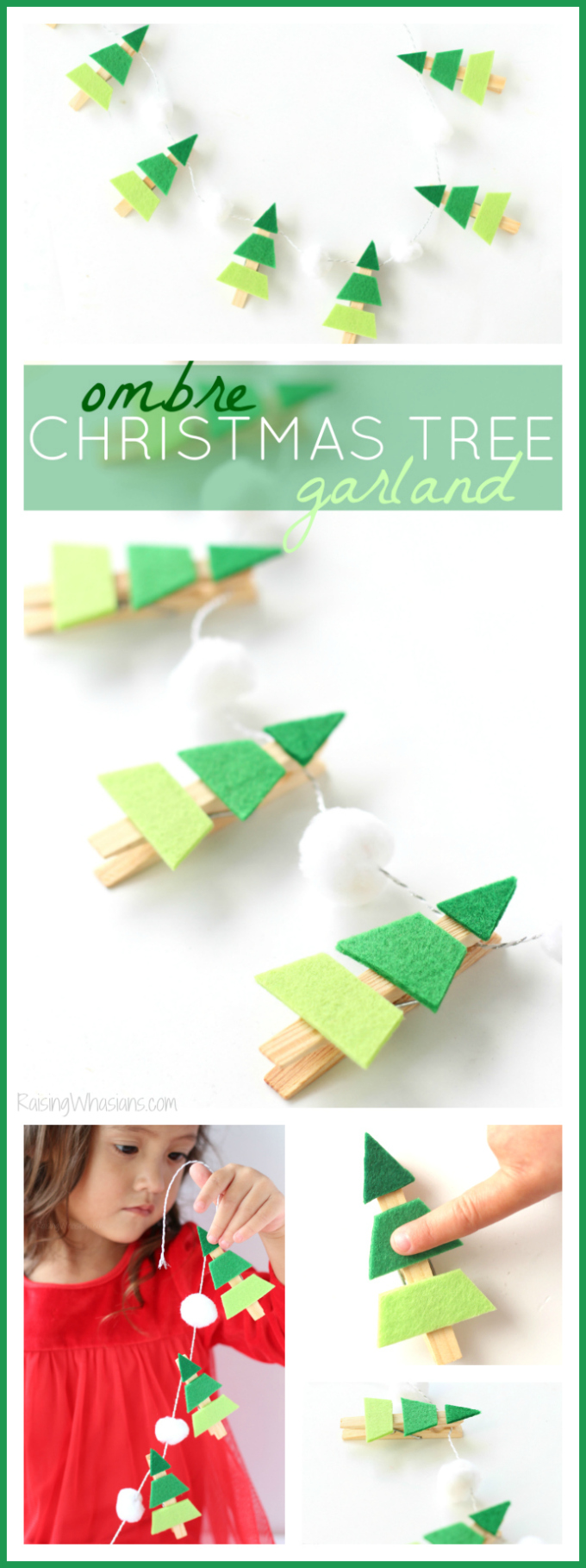 Ombre Christmas tree garland pinterest