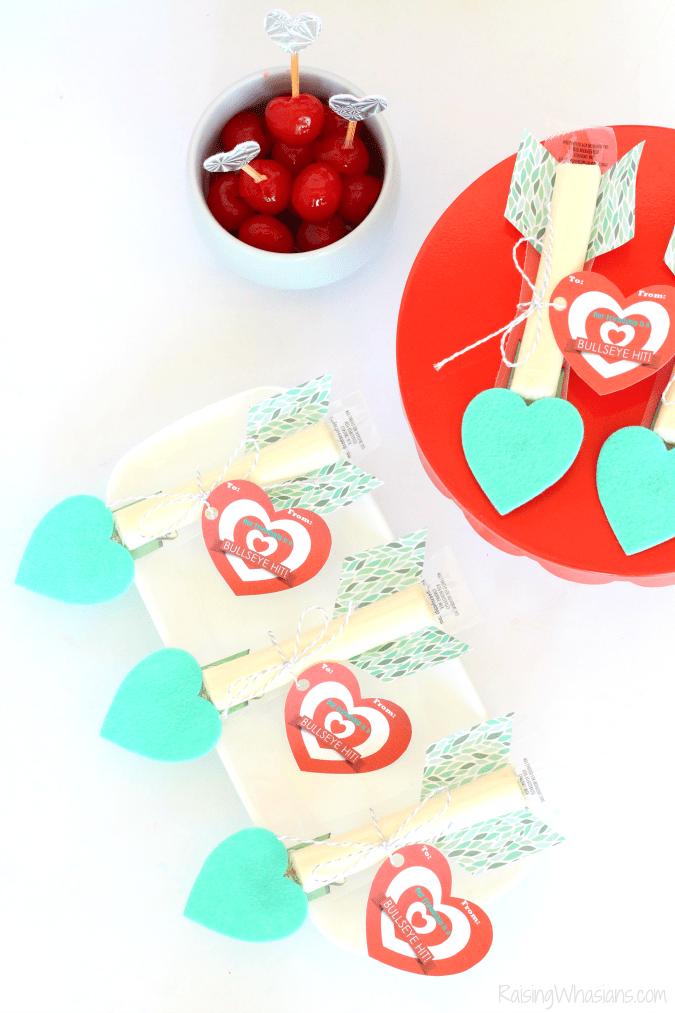 Cheese stick valentines day snack