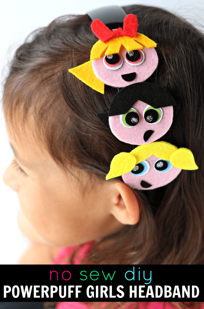 No sew powerpuff girls headband diy