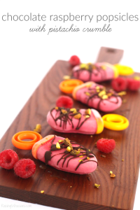 Chocolate Raspberry Popsicles with Pistachio Crumble