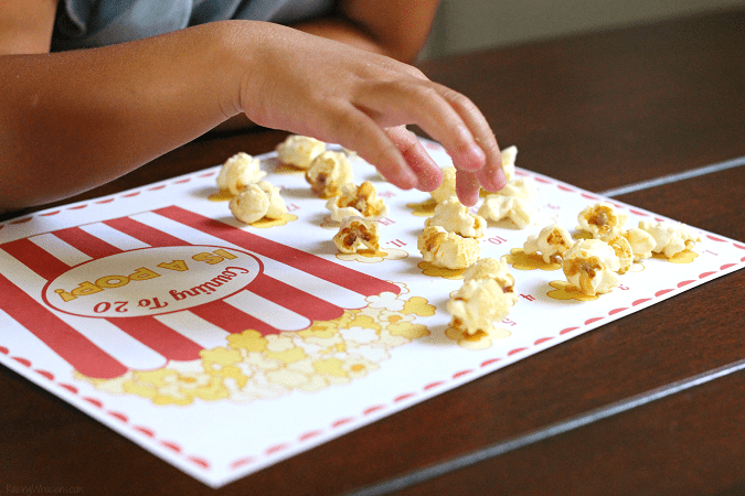 Printable popcorn activity for kids