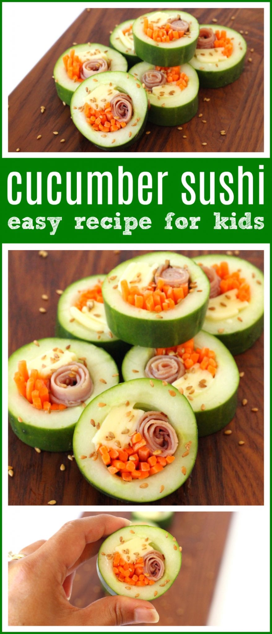 Kid Friendly Cucumber Sushi for Back-to-School | Quick & fun kids lunchbox idea - perfect for school lunches! Healthy & easy gluten & sandwich free recipe - This school lunch recipe would be perfect for a gluten free meal plan or as an appetizer for a party. #GlutenFree #GlutenFreeRecipe #LunchBox #LunchBoxRecipe #MealPlan #appetizer