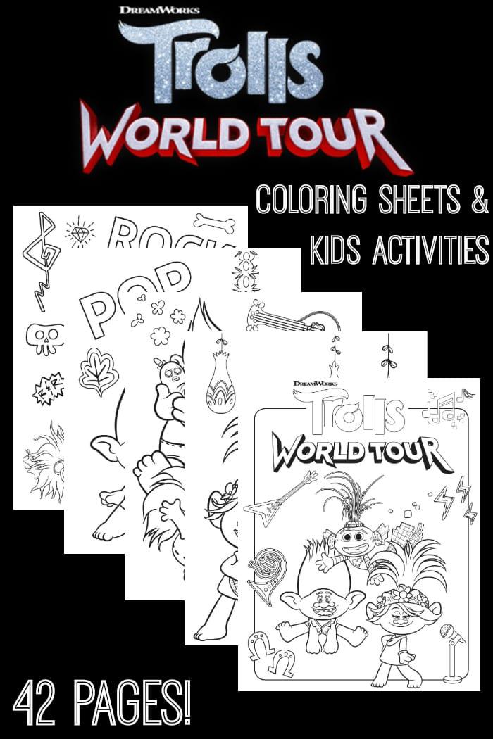 Free Trolls World Tour Coloring Sheets Kids Activities Raising Whasians