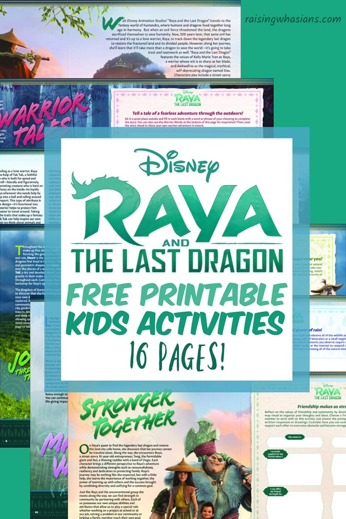 Free Raya and the last dragon printable kids activities