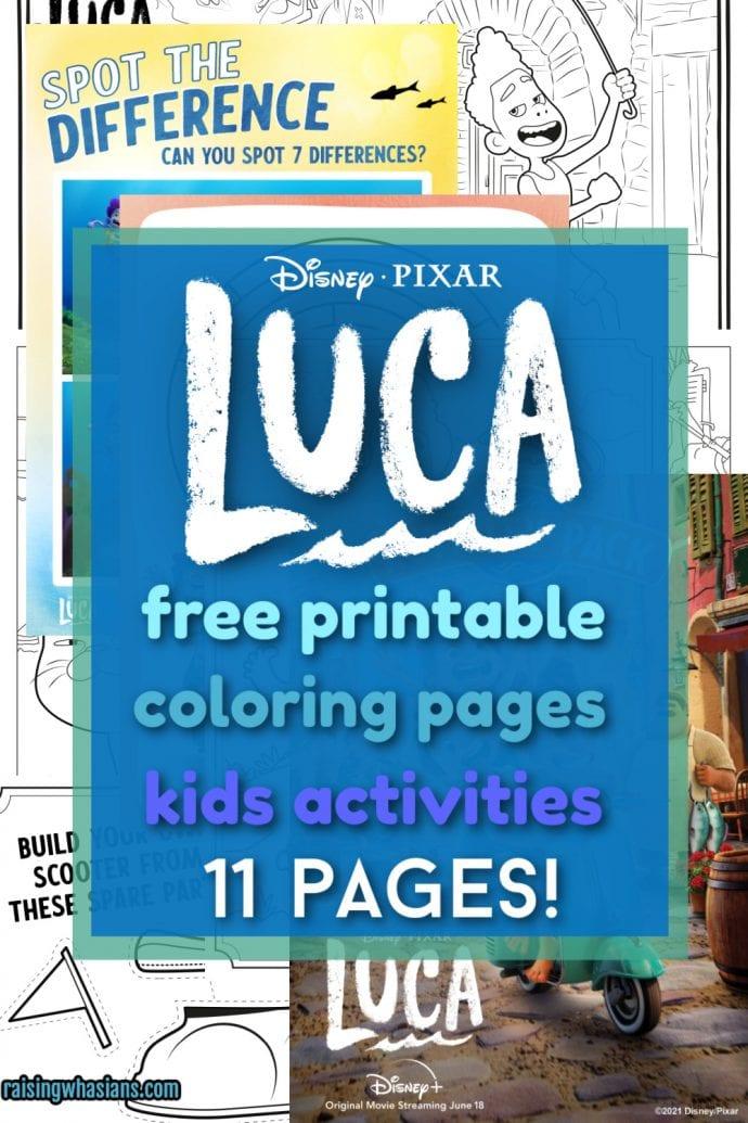 Free Luca printable coloring sheets