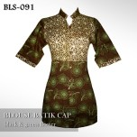 BLS-091 Blouse Batik Cap Lengan Pendek - BLACK n GREEN FLOWER