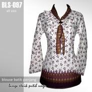 BLS-097 Blouse Batik - Bunga Etnik Putih