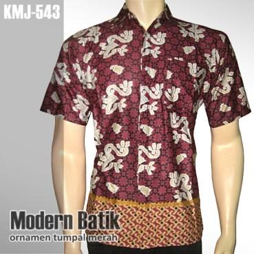 Kemeja Batik Modern | Ornamen Tumpal MERAH | KMJ-543 - www.tokopedia.com/rajapadmibatik