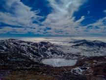 Aerial view of frozen Manju Lake.