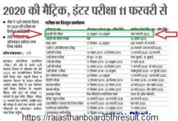 JAC Board 10th Time Table 2020