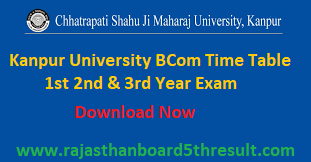 Kanpur University BCom Time Table 2020