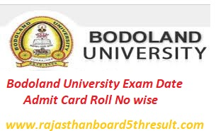 Bodoland University Admit Card 2020