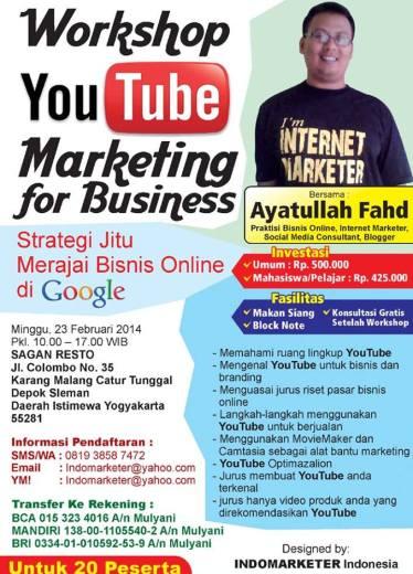 Belajar Youtube Marketing Yogyakarta, Pelatihan Youtube Marketing Yogyakarta, Ayatullah Fahd