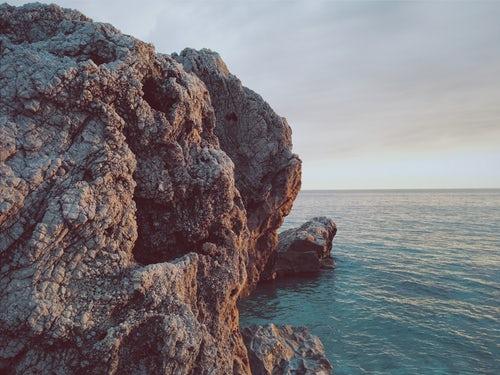 Rock formation near water body