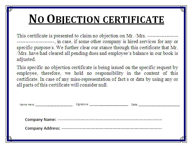 Noc Template. 5 No Objection Certificate Templates Certificate