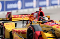 Jun 5, 2016; Detroit, MI, USA; Andretti Autosport driver Ryan Hunter-Reay (28) of United States rounds turn eight during the Chevrolet Dual in Detroit Race 2 at The Raceway at Belle Isle Park. Mandatory Credit: Raj Mehta-USA TODAY Sports