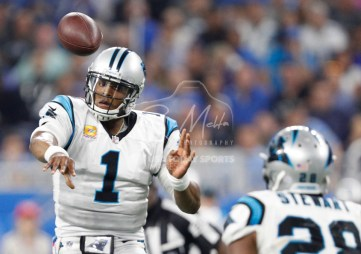 Oct 8, 2017; Detroit, MI, USA; Carolina Panthers quarterback Cam Newton (1) throws the ball to running back Jonathan Stewart (28) during the second quarter against the Detroit Lions at Ford Field. Mandatory Credit: Raj Mehta-USA TODAY Sports