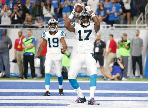 Oct 8, 2017; Detroit, MI, USA; Carolina Panthers wide receiver Devin Funchess (17) celebrates after making a touchdown catch during the second quarter against the Detroit Lions at Ford Field. Mandatory Credit: Raj Mehta-USA TODAY Sports