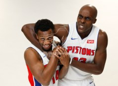 Sep 25, 2017; Detroit, MI, USA; Detroit Pistons forward Anthony Tolliver (43) gets guard Ish Smith (14) in a headlock during media day at The Palace of Auburn Hills. Mandatory Credit: Raj Mehta-USA TODAY Sports