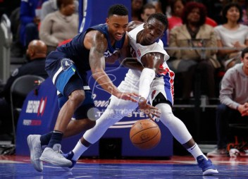 Oct 25, 2017; Detroit, MI, USA; Detroit Pistons guard Reggie Jackson (1) knocks the ball away from Minnesota Timberwolves guard Jeff Teague (0) during the third quarter at Little Caesars Arena. Mandatory Credit: Raj Mehta-USA TODAY Sports