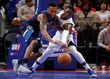 Oct 25, 2017; Detroit, MI, USA; Detroit Pistons guard Reggie Jackson (1) knocks the ball away from Minnesota Timberwolves guard Jeff Teague (0) during the third quarter at Little Caesars Arena. Mandatory Credit: Raj Mehta-USA TODAY Sports