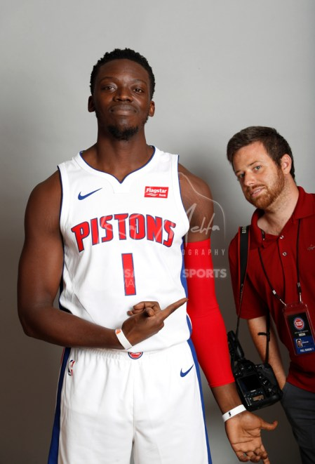Sep 25, 2017; Detroit, MI, USA; Detroit Pistons guard Reggie Jackson (1) points to photo bomber Mike Mulholland during media day at The Palace of Auburn Hills. Mandatory Credit: Raj Mehta-USA TODAY Sports