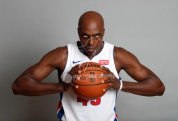 Sep 25, 2017; Detroit, MI, USA; Detroit Pistons forward Anthony Tolliver (43) poses for a photo during media day at The Palace of Auburn Hills. Mandatory Credit: Raj Mehta-USA TODAY Sports