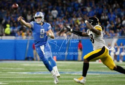 Oct 29, 2017; Detroit, MI, USA; Detroit Lions quarterback Matthew Stafford (9) makes a throw against Pittsburgh Steelers outside linebacker Bud Dupree (48) during the second quarter at Ford Field. Mandatory Credit: Raj Mehta-USA TODAY Sports