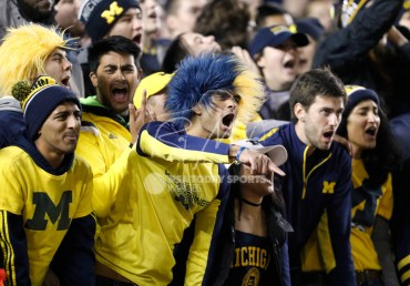 Nov 4, 2017; Ann Arbor, MI, USA; Michigan Wolverines fans yell out during the second quarter against the Minnesota Golden Gophers at Michigan Stadium. Mandatory Credit: Raj Mehta-USA TODAY Sports