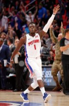 Nov 10, 2017; Detroit, MI, USA; Detroit Pistons guard Reggie Jackson (1) celebrates after making a three point basket during the fourth quarter against the Atlanta Hawks at Little Caesars Arena. Mandatory Credit: Raj Mehta-USA TODAY Sports
