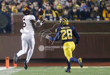 Nov 4, 2017; Ann Arbor, MI, USA; Minnesota Golden Gophers wide receiver Tyler Johnson (6) makes a catch against Michigan Wolverines defensive back Brandon Watson (28) during the fourth quarter at Michigan Stadium. Mandatory Credit: Raj Mehta-USA TODAY Sports