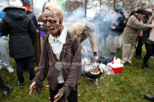 Nov 23, 2017; Detroit, MI, USA; A zombie stands in front of the Gust tailgate before the game between the Detroit Lions and the Minnesota Vikings at Ford Field. Mandatory Credit: Raj Mehta-USA TODAY Sports