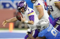 Nov 23, 2017; Detroit, MI, USA; Minnesota Vikings quarterback Case Keenum (7) loses control of the ball as Detroit Lions defensive tackle A'Shawn Robinson (91) grabs him during the second quarter at Ford Field. Mandatory Credit: Raj Mehta-USA TODAY Sports