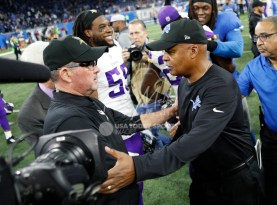Nov 23, 2017; Detroit, MI, USA; Detroit Lions head coach Jim Caldwell shakes hands with Minnesota Vikings head coach Mike Zimmer after the game at Ford Field. Mandatory Credit: Raj Mehta-USA TODAY Sports