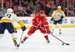 Feb 20, 2018; Detroit, MI, USA; Detroit Red Wings center Henrik Zetterberg (40) skates with the puck against Nashville Predators defenseman Roman Josi (59) during the second period at Little Caesars Arena. Mandatory Credit: Raj Mehta-USA TODAY Sports