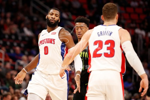 Feb 14, 2018; Detroit, MI, USA; Detroit Pistons center Andre Drummond (0) gives five to forward Blake Griffin (23) during the third quarter against the Atlanta Hawks at Little Caesars Arena. Mandatory Credit: Raj Mehta-USA TODAY Sports