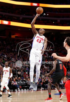 Mar 24, 2018; Detroit, MI, USA; Detroit Pistons forward Anthony Tolliver (43) takes a shot during the second quarter against the Chicago Bulls at Little Caesars Arena. Mandatory Credit: Raj Mehta-USA TODAY Sports