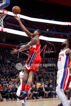 Mar 29, 2018; Detroit, MI, USA; Washington Wizards guard Bradley Beal (3) goes up for a shot against Detroit Pistons guard Reggie Bullock (25) during the first quarter at Little Caesars Arena. Mandatory Credit: Raj Mehta-USA TODAY Sports
