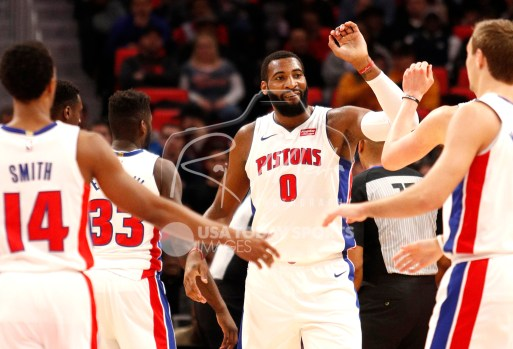 Mar 29, 2018; Detroit, MI, USA; Detroit Pistons center Andre Drummond (0) celebrates with teammates after a play during the first quarter against the Washington Wizards at Little Caesars Arena. Mandatory Credit: Raj Mehta-USA TODAY Sports